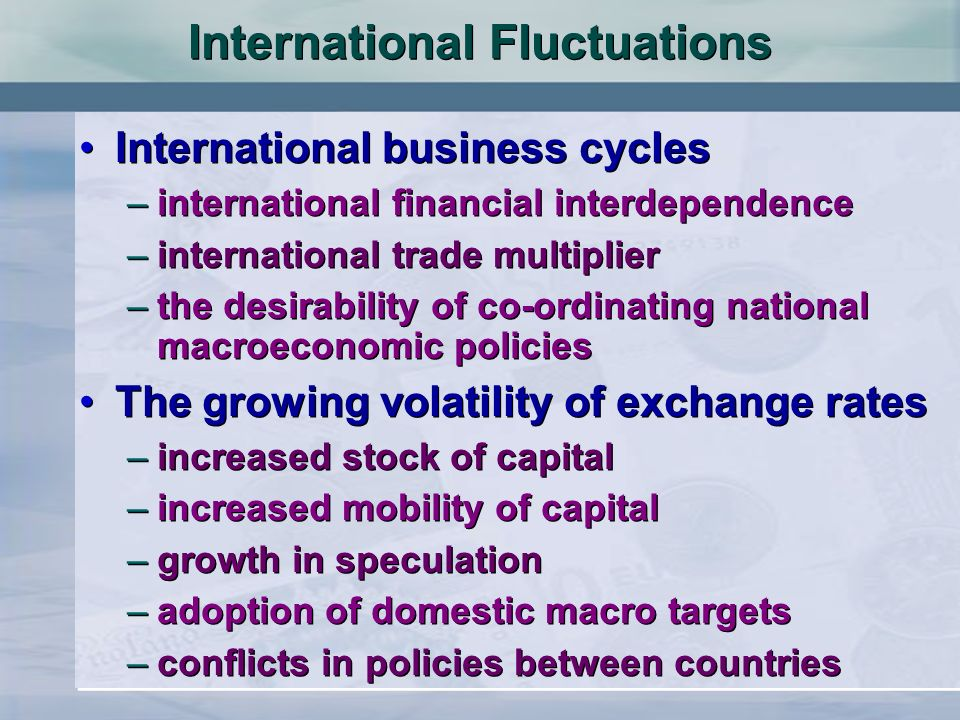 International Fluctuations International business cycles –international financial interdependence –international trade multiplier –the desirability of co-ordinating national macroeconomic policies The growing volatility of exchange rates –increased stock of capital –increased mobility of capital –growth in speculation –adoption of domestic macro targets –conflicts in policies between countries International business cycles –international financial interdependence –international trade multiplier –the desirability of co-ordinating national macroeconomic policies The growing volatility of exchange rates –increased stock of capital –increased mobility of capital –growth in speculation –adoption of domestic macro targets –conflicts in policies between countries