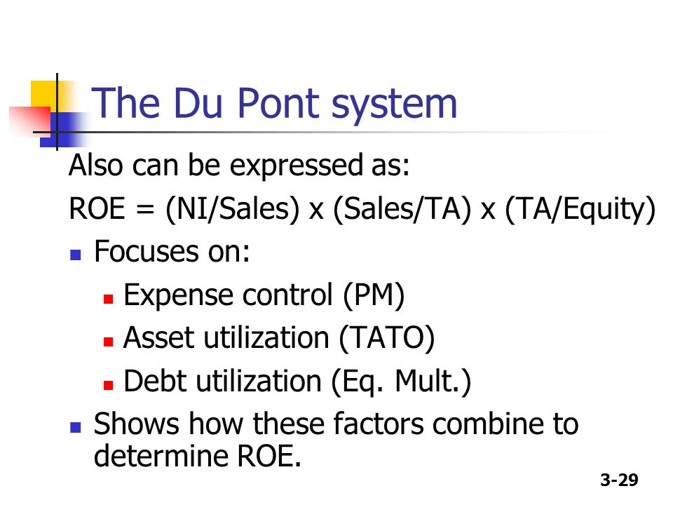 3-29 The Du Pont system Also can be expressed as: ROE = (NI/Sales) x (Sales/TA) x (TA/Equity) Focuses on: Expense control (PM) Asset utilization (TATO