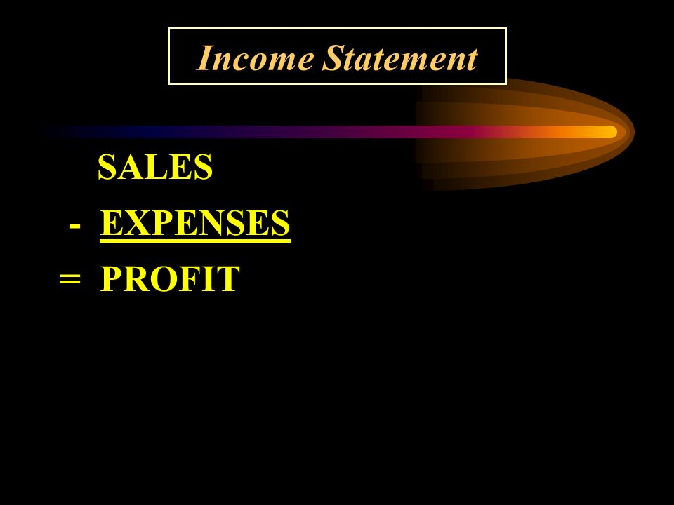SALES - EXPENSES = PROFIT Income Statement