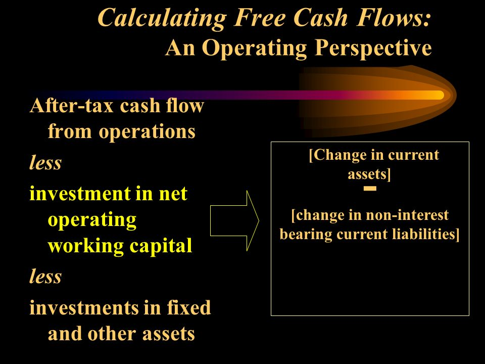 Calculating Free Cash Flows: An Operating Perspective After-tax cash flow from operations less investment in net operating working capital less investments in fixed and other assets [Change in current assets] - [change in non-interest bearing current liabilities]
