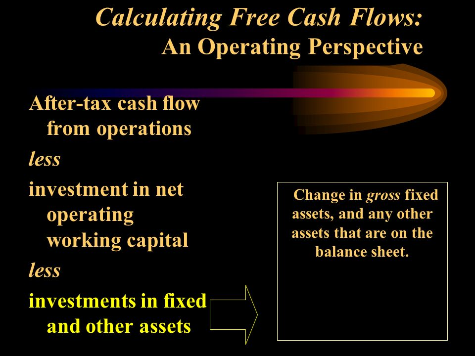 Calculating Free Cash Flows: An Operating Perspective After-tax cash flow from operations less investment in net operating working capital less investments in fixed and other assets Change in gross fixed assets, and any other assets that are on the balance sheet.