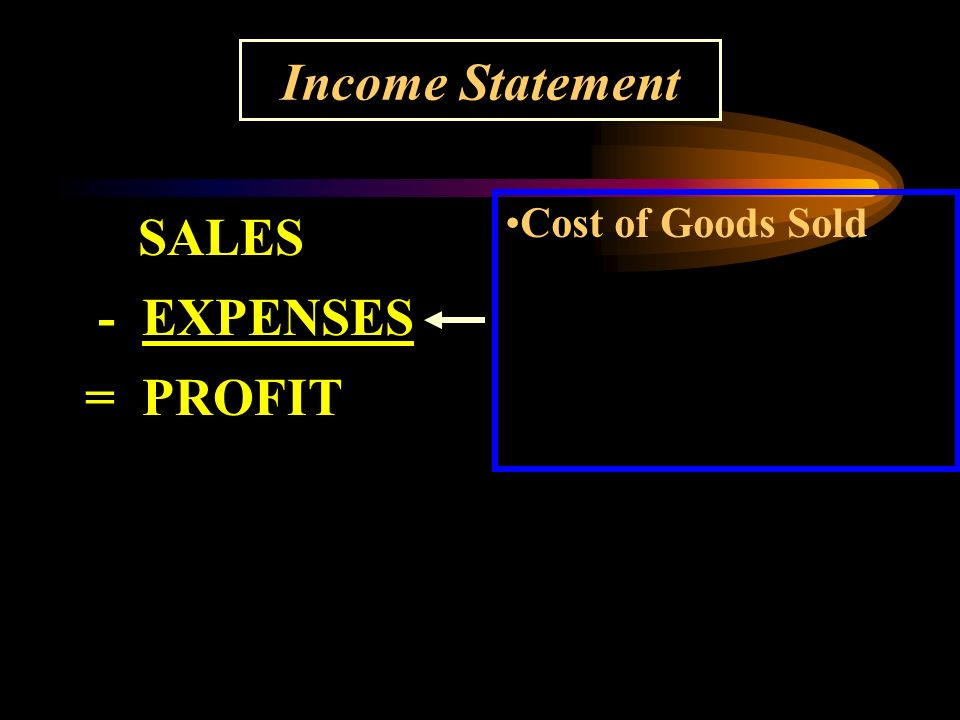 Income Statement SALES - EXPENSES = PROFIT Cost of Goods Sold