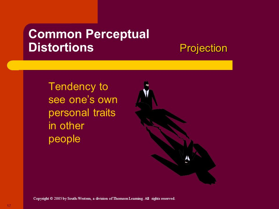 Copyright © 2005 by South-Western, a division of Thomson Learning. All rights reserved. 17 Common Perceptual Distortions Tendency to see ones own pers