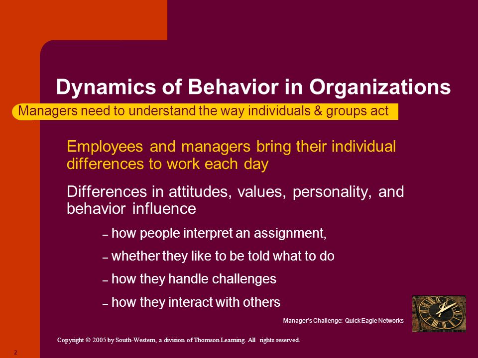 Copyright © 2005 by South-Western, a division of Thomson Learning. All rights reserved. 2 Dynamics of Behavior in Organizations Employees and managers