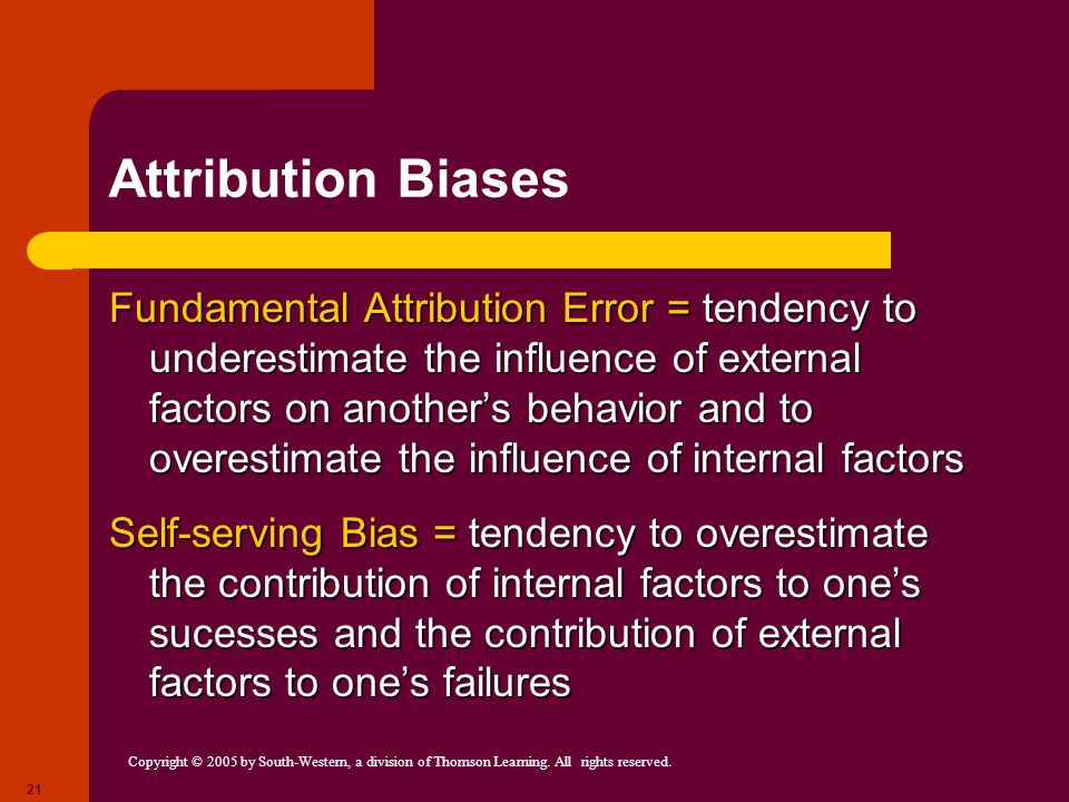 Copyright © 2005 by South-Western, a division of Thomson Learning. All rights reserved. 21 Attribution Biases Fundamental Attribution Error = tendency