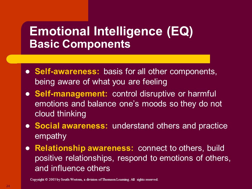Copyright © 2005 by South-Western, a division of Thomson Learning. All rights reserved. 24 Emotional Intelligence (EQ) Basic Components Self-awareness
