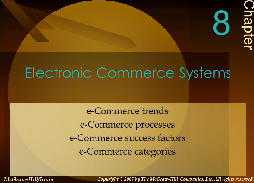 8-3 Learning Objectives 1.Identify the major categories and trends of e- commerce applications 2.