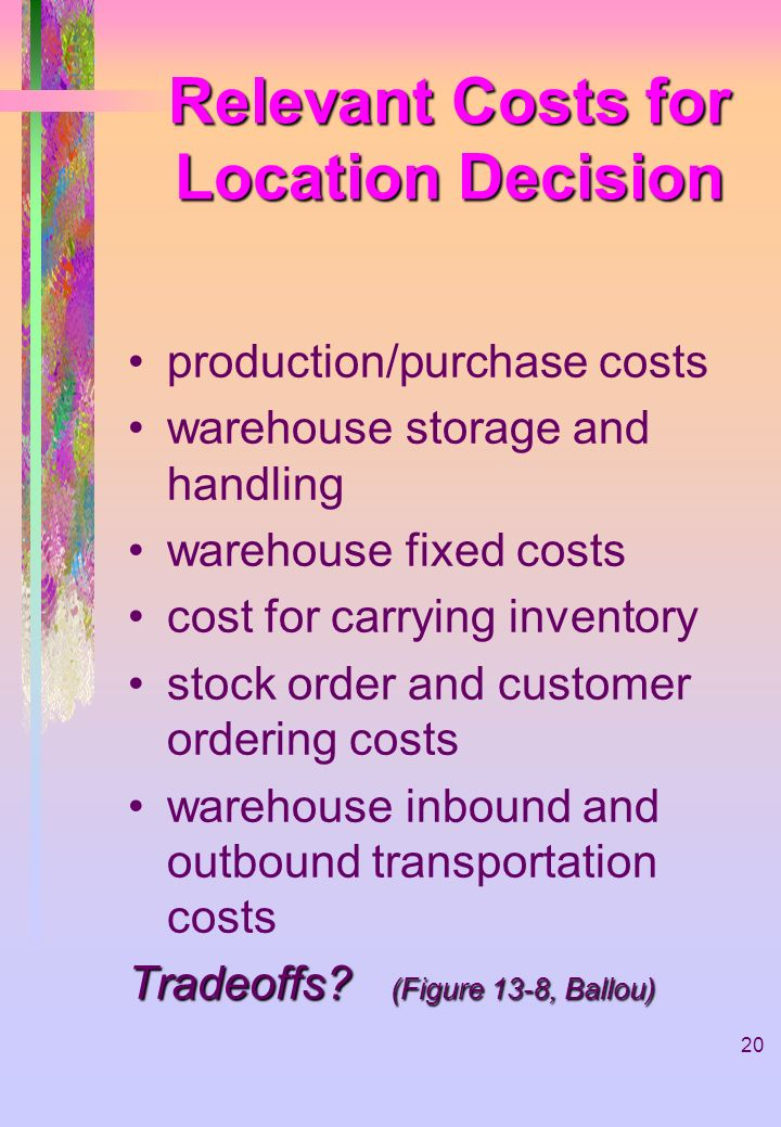 20 Relevant Costs for Location Decision production/purchase costs warehouse storage and handling warehouse fixed costs cost for carrying inventory sto
