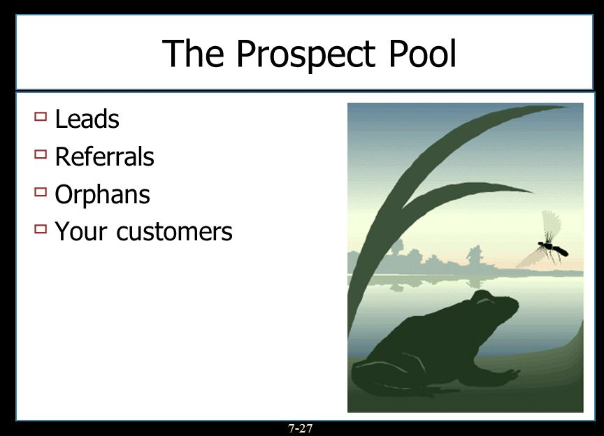 7-27 The Prospect Pool Leads Referrals Orphans Your customers