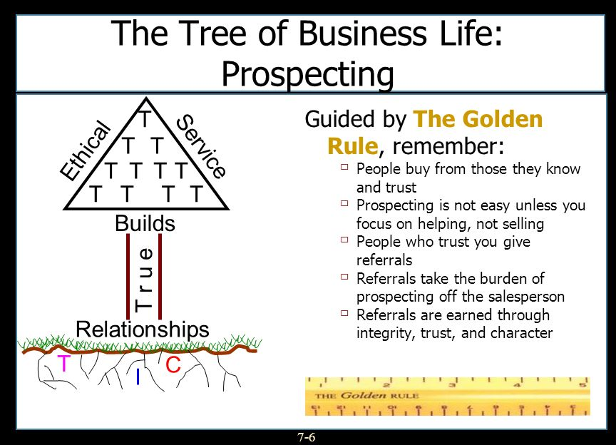 7-6 The Tree of Business Life: Prospecting The Golden Rule Guided by The Golden Rule, remember: People buy from those they know and trust Prospecting