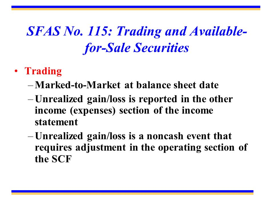 SFAS No. 115: Trading and Available- for-Sale Securities Trading –Marked-to-Market at balance sheet date –Unrealized gain/loss is reported in the othe