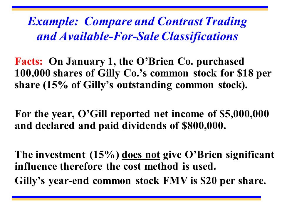 Example: Compare and Contrast Trading and Available-For-Sale Classifications Facts: On January 1, the OBrien Co. purchased 100,000 shares of Gilly Co.