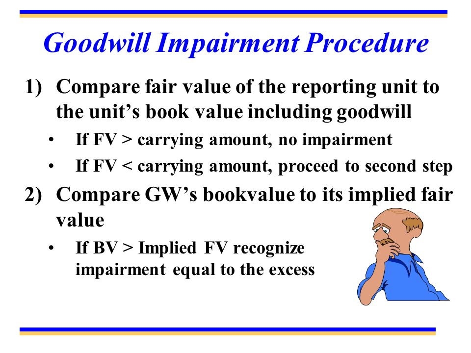 Goodwill Impairment Procedure 1)Compare fair value of the reporting unit to the units book value including goodwill If FV > carrying amount, no impair