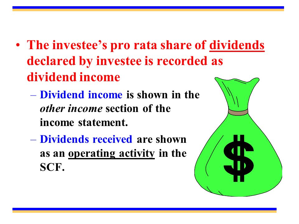 The investees pro rata share of dividends declared by investee is recorded as dividend income –Dividend income is shown in the other income section of