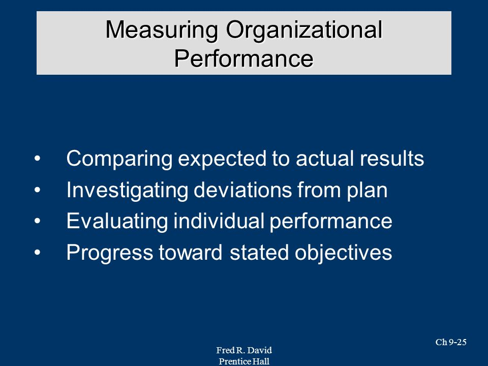 Fred R. David Prentice Hall Ch 9-25 Comparing expected to actual results Investigating deviations from plan Evaluating individual performance Progress