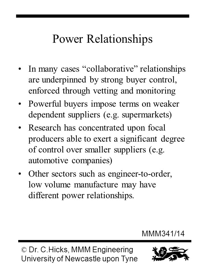 MMM341/14 © Dr. C.Hicks, MMM Engineering University of Newcastle upon Tyne Power Relationships In many cases collaborative relationships are underpinn