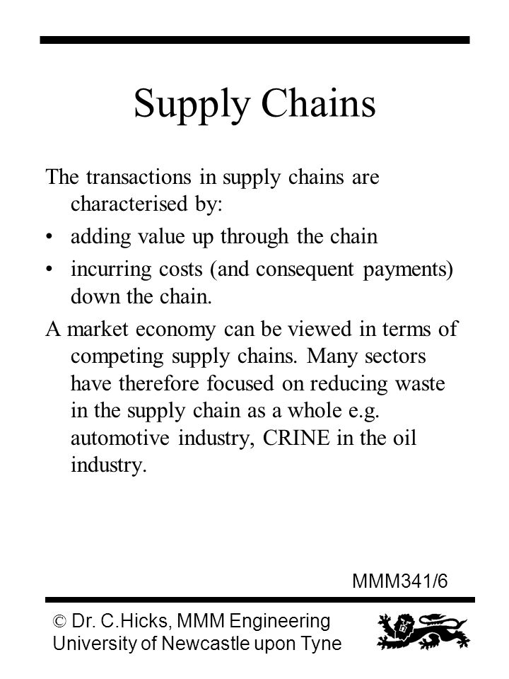 MMM341/6 © Dr. C.Hicks, MMM Engineering University of Newcastle upon Tyne Supply Chains The transactions in supply chains are characterised by: adding