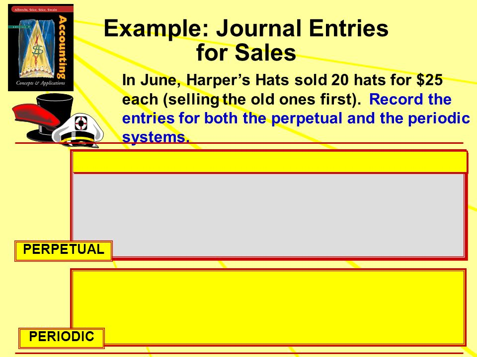 Example: Journal Entries for Sales In June, Harpers Hats sold 20 hats for $25 each (selling the old ones first). Record the entries for both the perpe