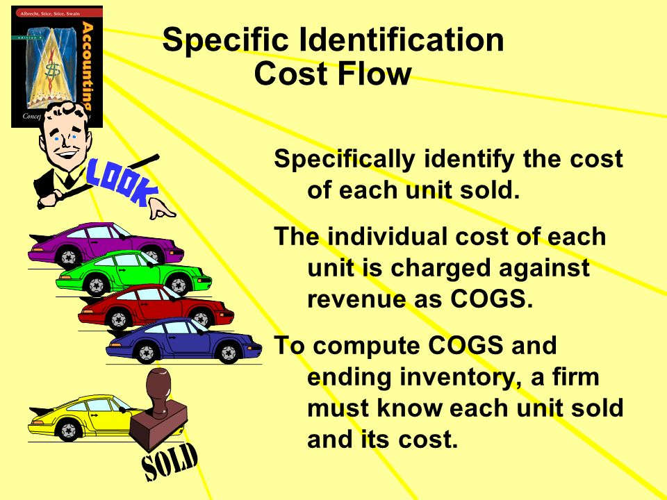 Specific Identification Cost Flow Specifically identify the cost of each unit sold. The individual cost of each unit is charged against revenue as COG