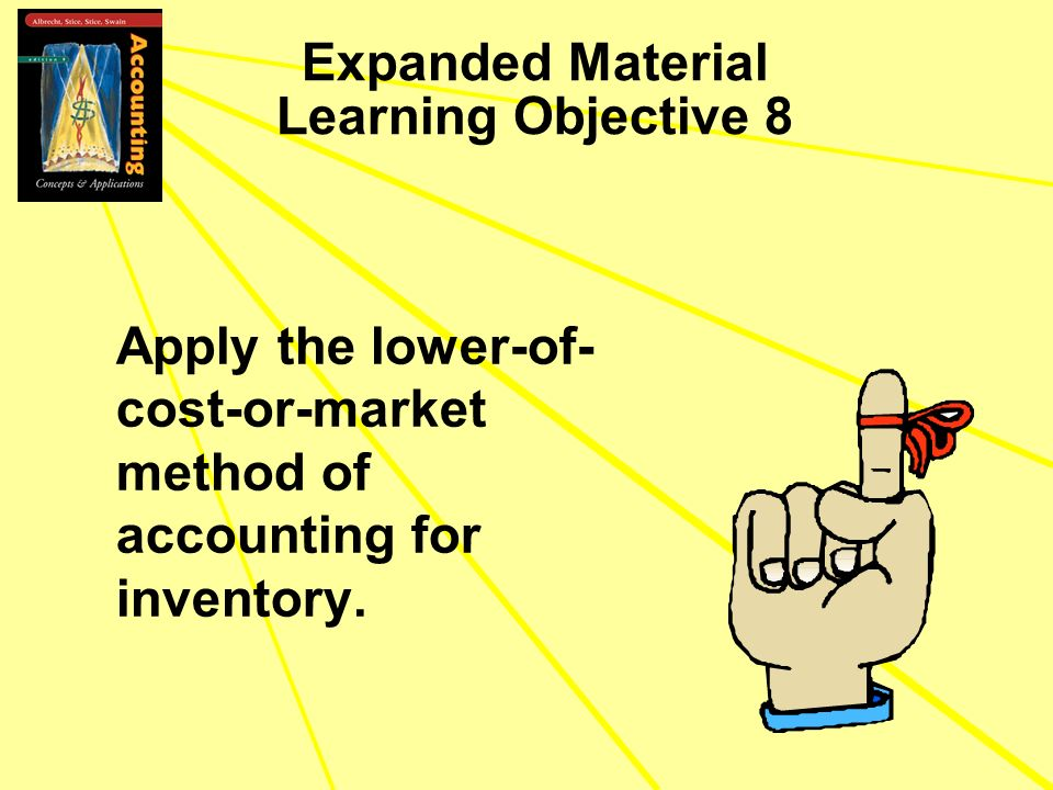 Expanded Material Learning Objective 8 Apply the lower-of- cost-or-market method of accounting for inventory.