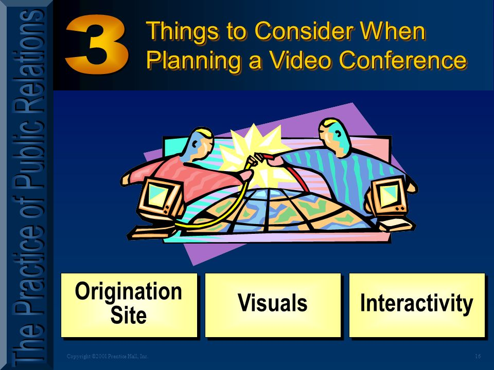 15Copyright ©2001 Prentice Hall, Inc. QUICK QUIZ Why use Video Conferences .