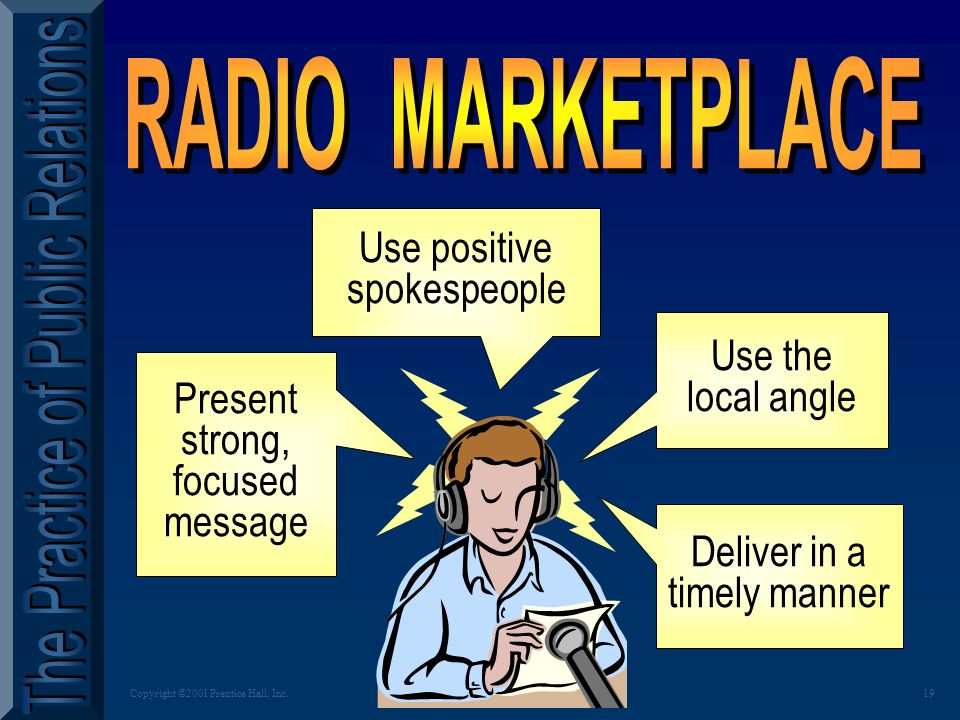 18Copyright ©2001 Prentice Hall, Inc. QUICK QUIZ Why has RADIO re-emerged in popularity.