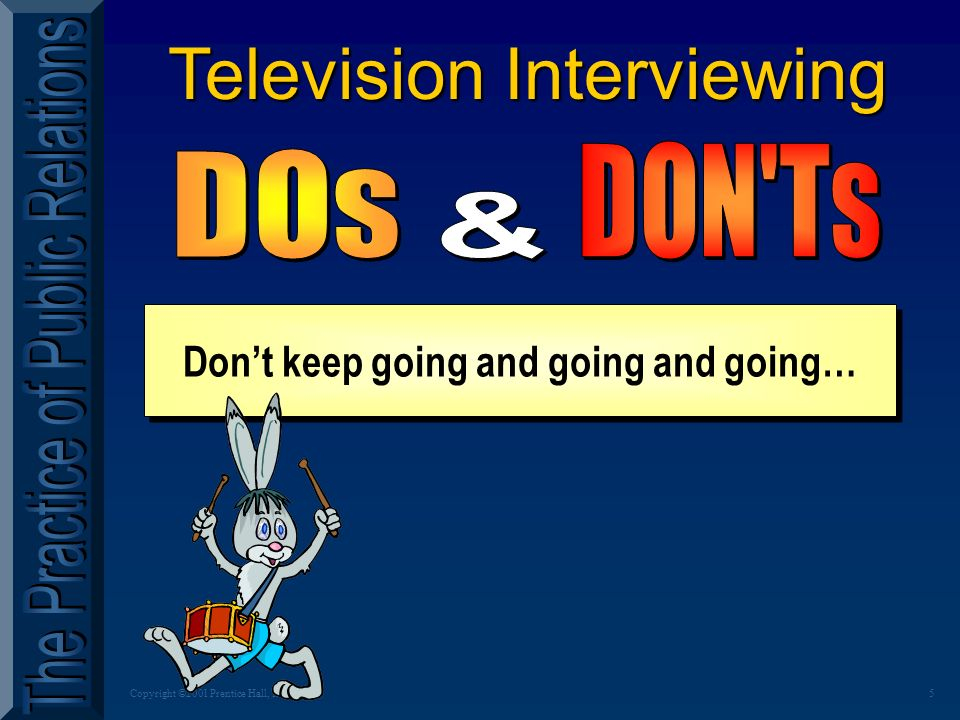 5Copyright ©2001 Prentice Hall, Inc. Television Interviewing Dont keep going and going and going…