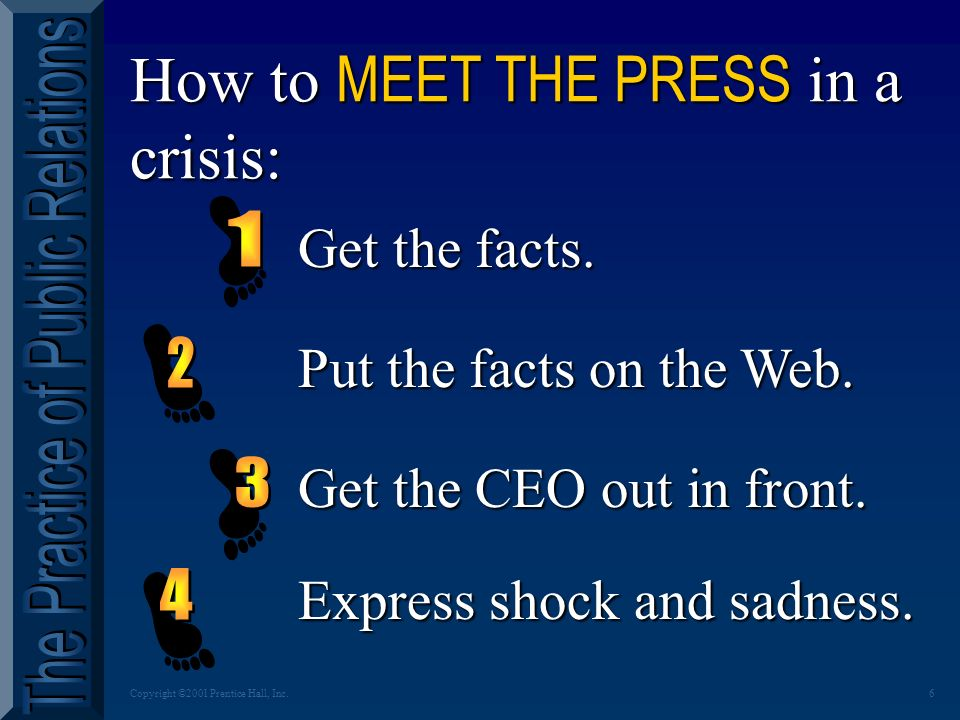 6Copyright ©2001 Prentice Hall, Inc.How to MEET THE PRESS in a crisis: Get the facts.