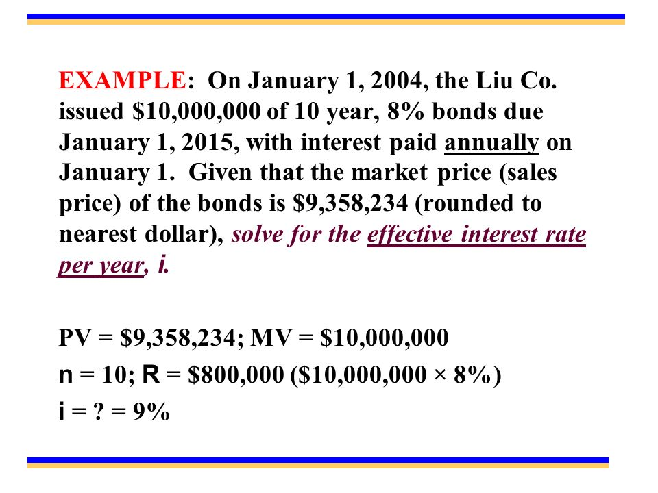 EXAMPLE: On January 1, 2004, the Liu Co.