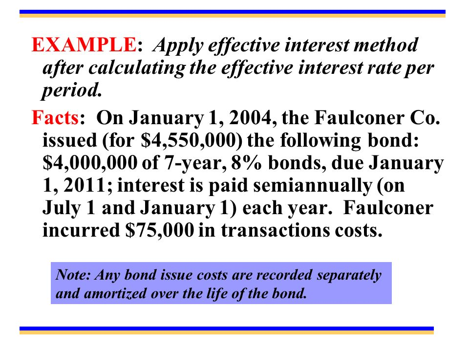 EXAMPLE: Apply effective interest method after calculating the effective interest rate per period.