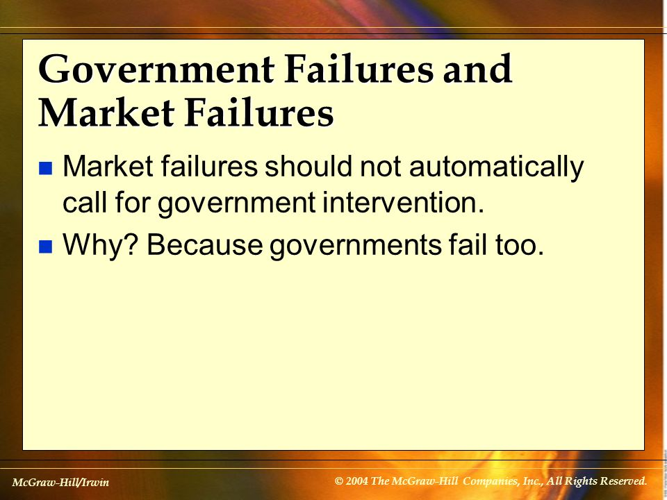 McGraw-Hill/Irwin © 2004 The McGraw-Hill Companies, Inc., All Rights Reserved. Government Failures and Market Failures n Market failures should not au