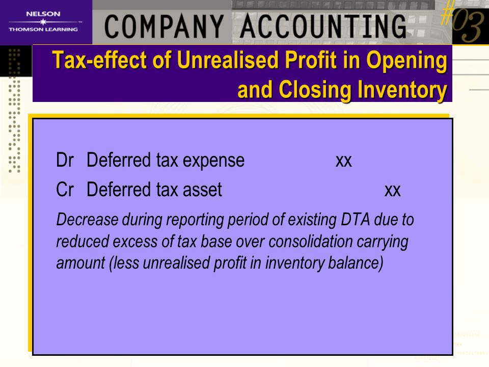 Tax-effect of Unrealised Profit in Opening and Closing Inventory DrDeferred tax expense xx CrDeferred tax asset xx Decrease during reporting period of existing DTA due to reduced excess of tax base over consolidation carrying amount (less unrealised profit in inventory balance) DrDeferred tax expense xx CrDeferred tax asset xx Decrease during reporting period of existing DTA due to reduced excess of tax base over consolidation carrying amount (less unrealised profit in inventory balance)