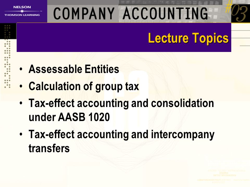 Lecture Topics Assessable Entities Calculation of group tax Tax-effect accounting and consolidation under AASB 1020 Tax-effect accounting and intercompany transfers