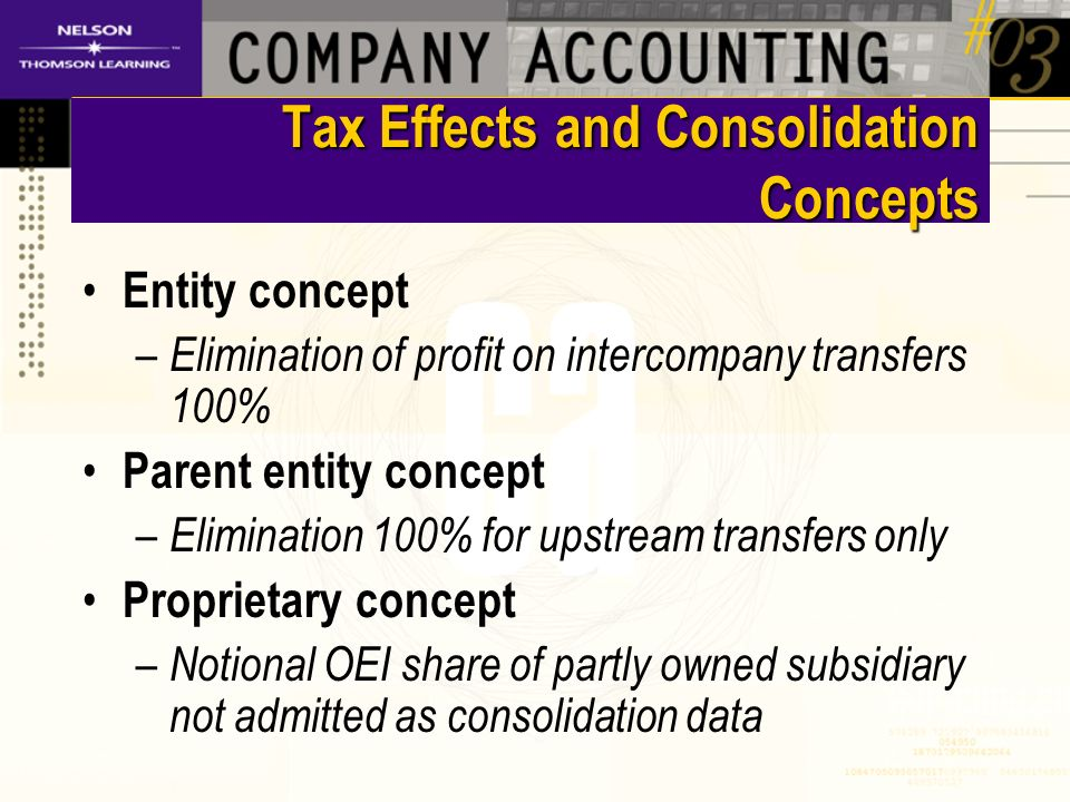 Tax Effects and Consolidation Concepts Entity concept – Elimination of profit on intercompany transfers 100% Parent entity concept – Elimination 100% for upstream transfers only Proprietary concept – Notional OEI share of partly owned subsidiary not admitted as consolidation data