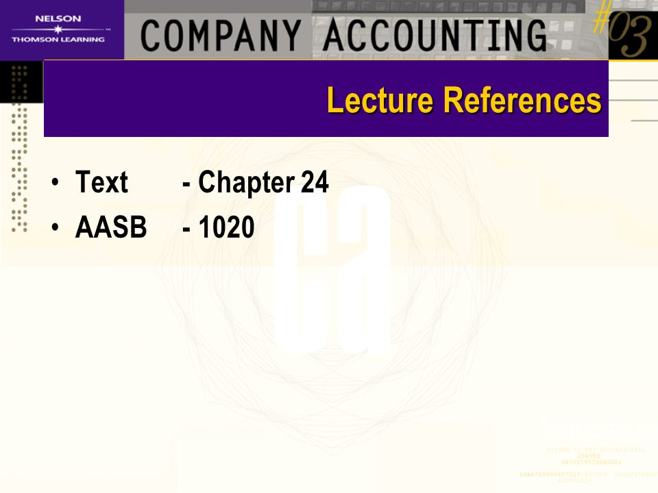 Lecture References Text- Chapter 24 AASB- 1020