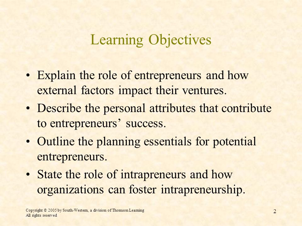 Copyright © 2005 by South-Western, a division of Thomson Learning All rights reserved 2 Learning Objectives Explain the role of entrepreneurs and how