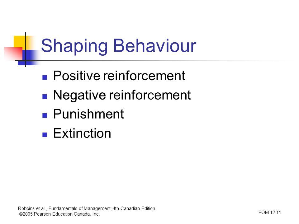 Robbins et al., Fundamentals of Management, 4th Canadian Edition ©2005 Pearson Education Canada, Inc. FOM 12.11 Shaping Behaviour Positive reinforceme