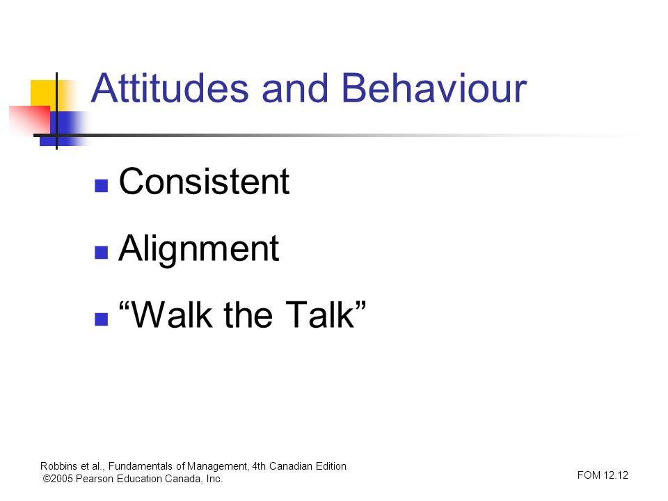 Robbins et al., Fundamentals of Management, 4th Canadian Edition ©2005 Pearson Education Canada, Inc. FOM 12.12 Attitudes and Behaviour Consistent Ali