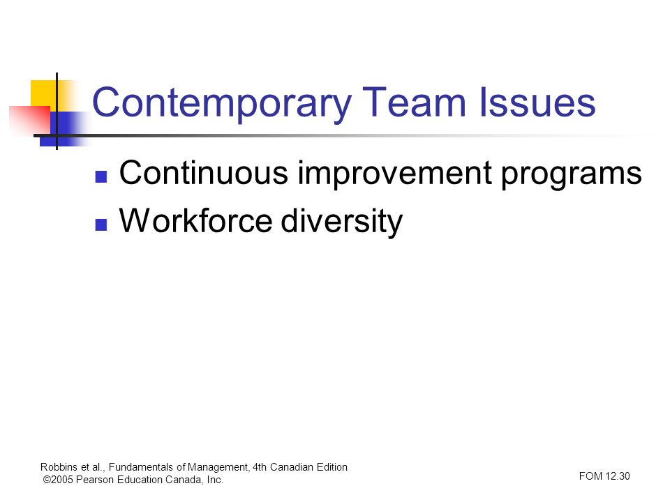 Robbins et al., Fundamentals of Management, 4th Canadian Edition ©2005 Pearson Education Canada, Inc. FOM 12.30 Contemporary Team Issues Continuous im