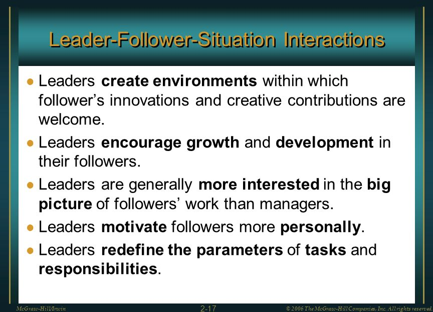 Leader-Follower-Situation Interactions Leaders create environments within which followers innovations and creative contributions are welcome. Leaders