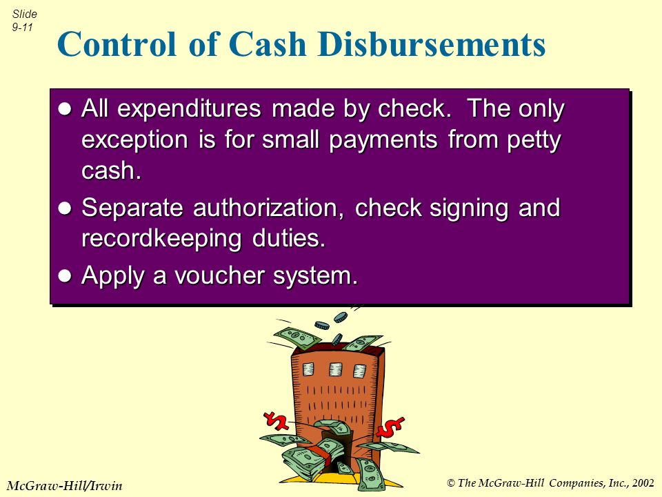 © The McGraw-Hill Companies, Inc., 2002 Slide 9-11 McGraw-Hill/Irwin Control of Cash Disbursements All expenditures made by check.