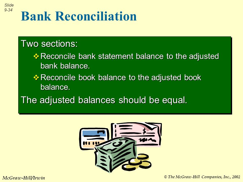 © The McGraw-Hill Companies, Inc., 2002 Slide 9-34 McGraw-Hill/Irwin Bank Reconciliation Two sections: Reconcile bank statement balance to the adjusted bank balance.
