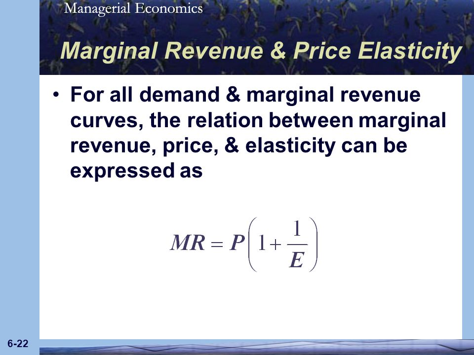 Managerial Economics 6-22 Marginal Revenue & Price Elasticity For all demand & marginal revenue curves, the relation between marginal revenue, price,