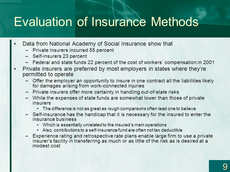 9 Evaluation of Insurance Methods Data from National Academy of Social Insurance show that –Private insurers incurred 55 percent –Self-insurers 23 per