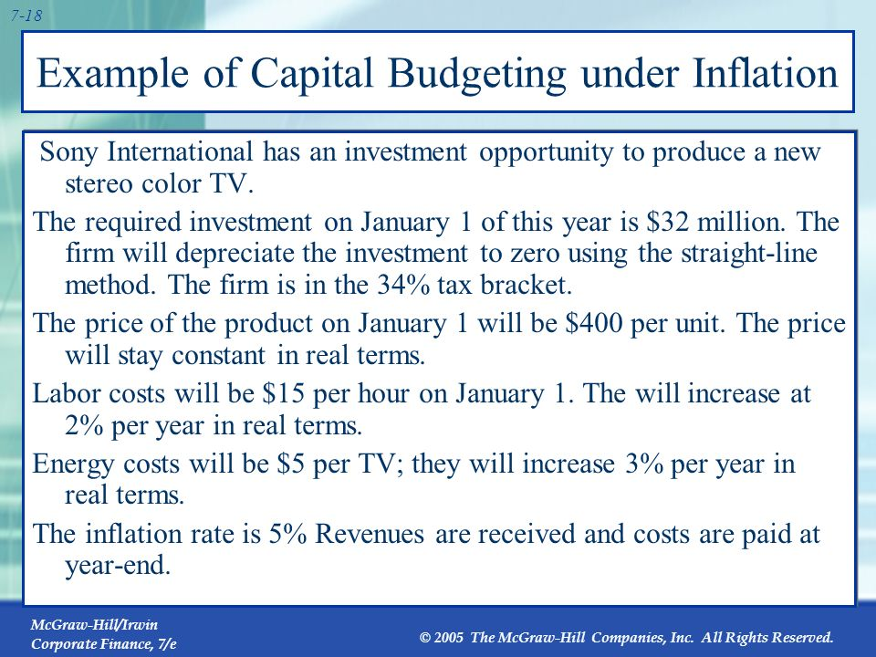 McGraw-Hill/Irwin Corporate Finance, 7/e © 2005 The McGraw-Hill Companies, Inc. All Rights Reserved. 7-17 7.3 Inflation and Capital Budgeting Inflatio