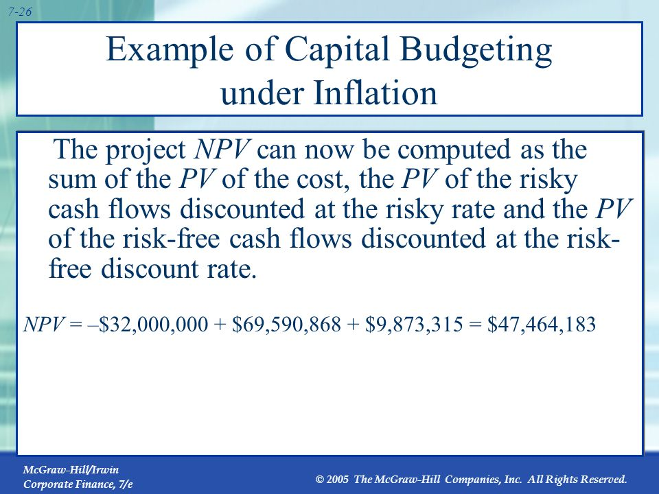 McGraw-Hill/Irwin Corporate Finance, 7/e © 2005 The McGraw-Hill Companies, Inc. All Rights Reserved. 7-25 Example of Capital Budgeting under Inflation