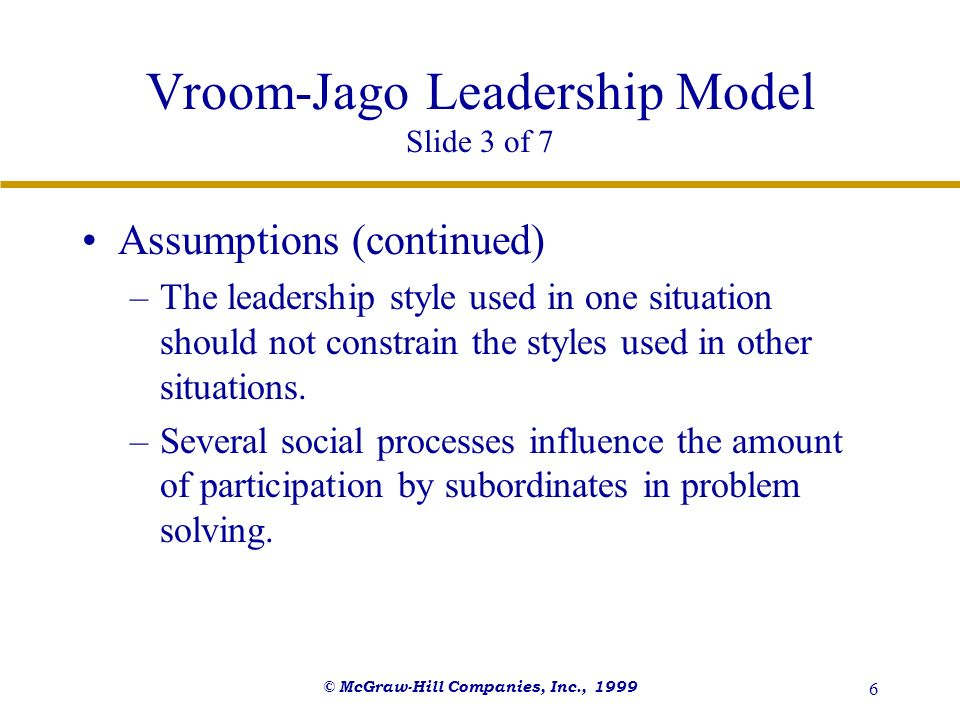© McGraw-Hill Companies, Inc., 1999 7 Vroom-Jago Leadership Model Slide 4 of 7 Features of the Model –Selection of the appropriate decision making process involves considering two criteria of decision effectiveness: Decision quality - referring to the extent to which the decision impacts job performance.