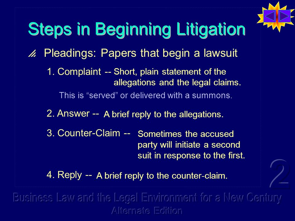 Steps in Beginning Litigation Pleadings: Papers that begin a lawsuit 1.