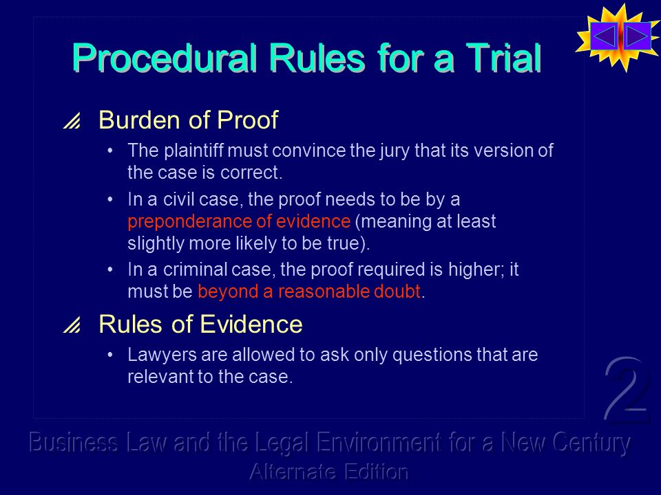 Procedural Rules for a Trial Burden of Proof The plaintiff must convince the jury that its version of the case is correct. In a civil case, the proof