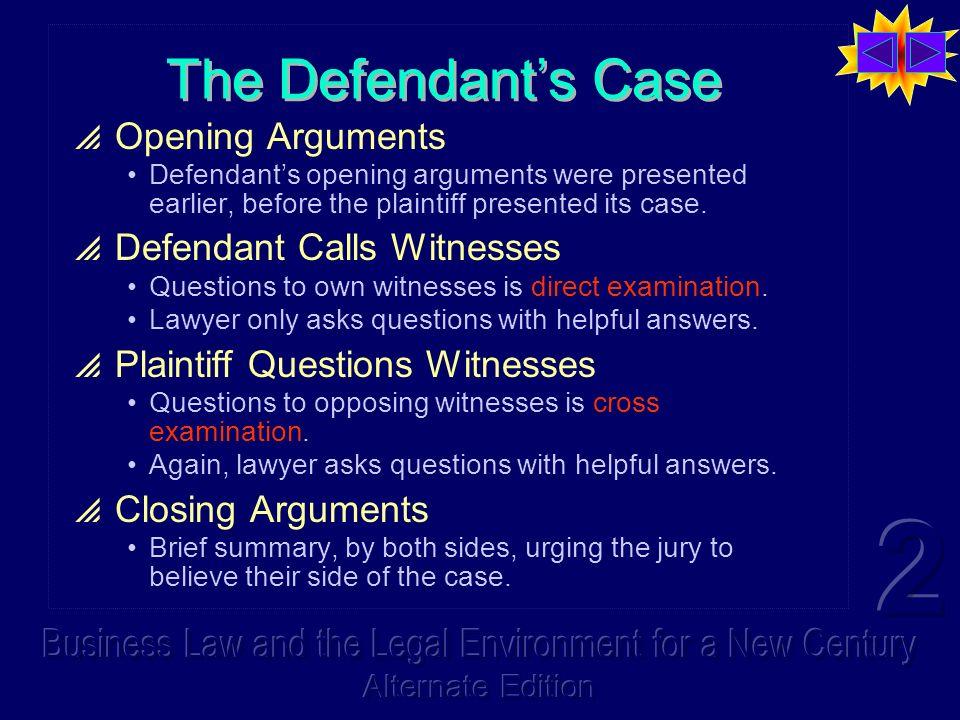 The Defendants Case Opening Arguments Defendants opening arguments were presented earlier, before the plaintiff presented its case. Defendant Calls Wi